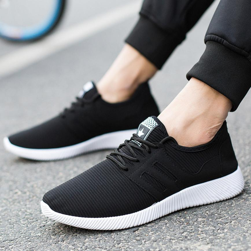 Running Shoes Big Size 46 Black White Male Light Comfort Shoes Sports Running Shoes Men Mesh Breathable Sport Shoes Slip On Sneakers Ha-22