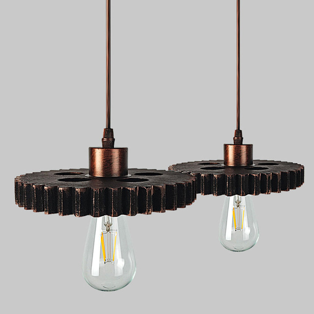 fghgf vintage diy loft wood gear wheel e27 edison pendant lights lampshades bar restaurant industrial lamp