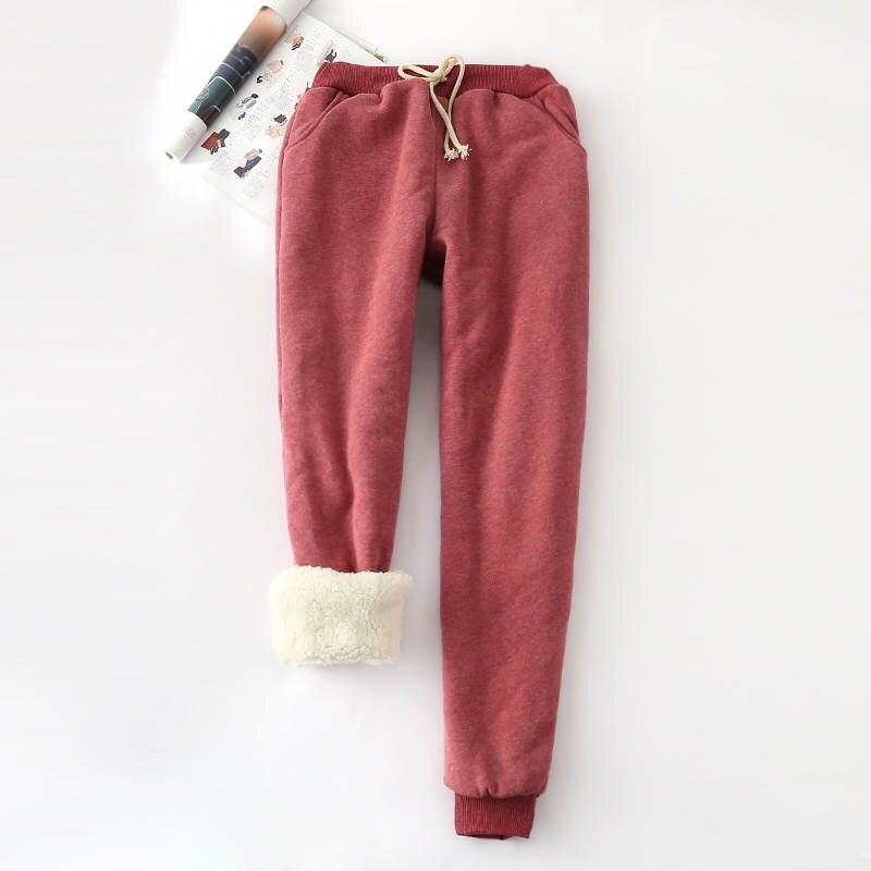 Inverno Cashmere Harem Calças Quentes Mulheres 2019 calças Causais Mulheres Grossas Quentes Calças De Caxemira Das Mulheres de pele de Cordeiro Calça Frouxa