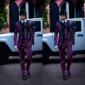 2017 Italian Mens Suits Purple Jacket with Black Collar Wedding Tuxedos Jacket+Pants Formal suits men Suits Groomsmen