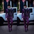 2017 Mens Ternos Italianos Casaco Roxo com Preto Collar homens Ternos Padrinhos de Casamento Smoking Jacket + Pants ternos Formais
