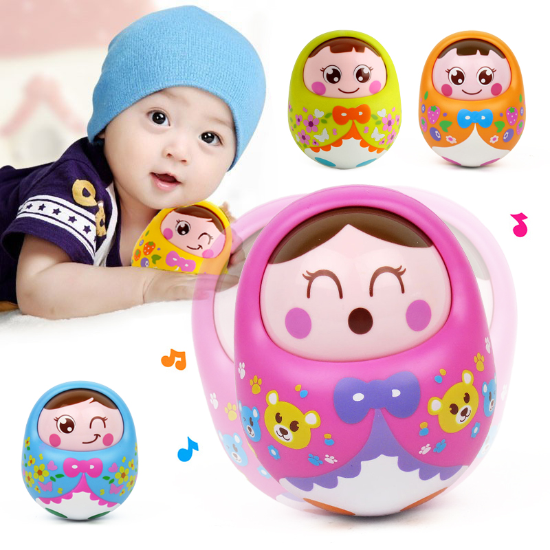 Huile Nodding Tumbler Doll Baby Cute Cartoon Musical Rattles Bell Roly Poly Early Education Fun Toys Brinquedos For Children