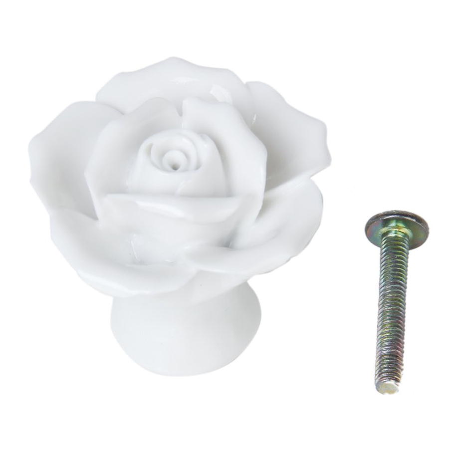 ᐂDhdl-1 x Rosa Flor de cerámica Muebles manija del gabinete-blanco ...
