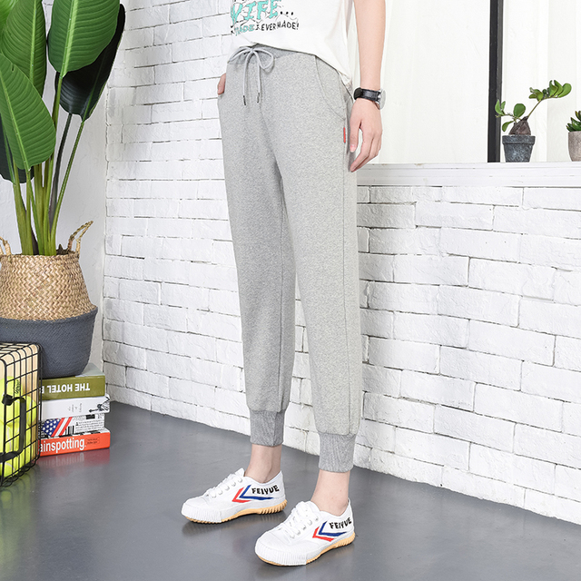 shop for newest latest releases detailed images US $20.0  Grey Sweatpants Women Tapered Harem Pants Womens 100% Cotton  Baumwolle Slim Fit Jogger Walking Trousers Drawstring Track Pants-in Pants  & ...