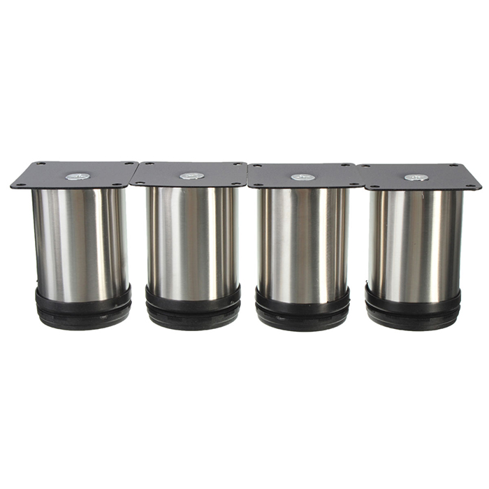 4Pcs Cabinet Legs Adjustable Stainless Steel Furniture Feet Round Stand Holder 8cm