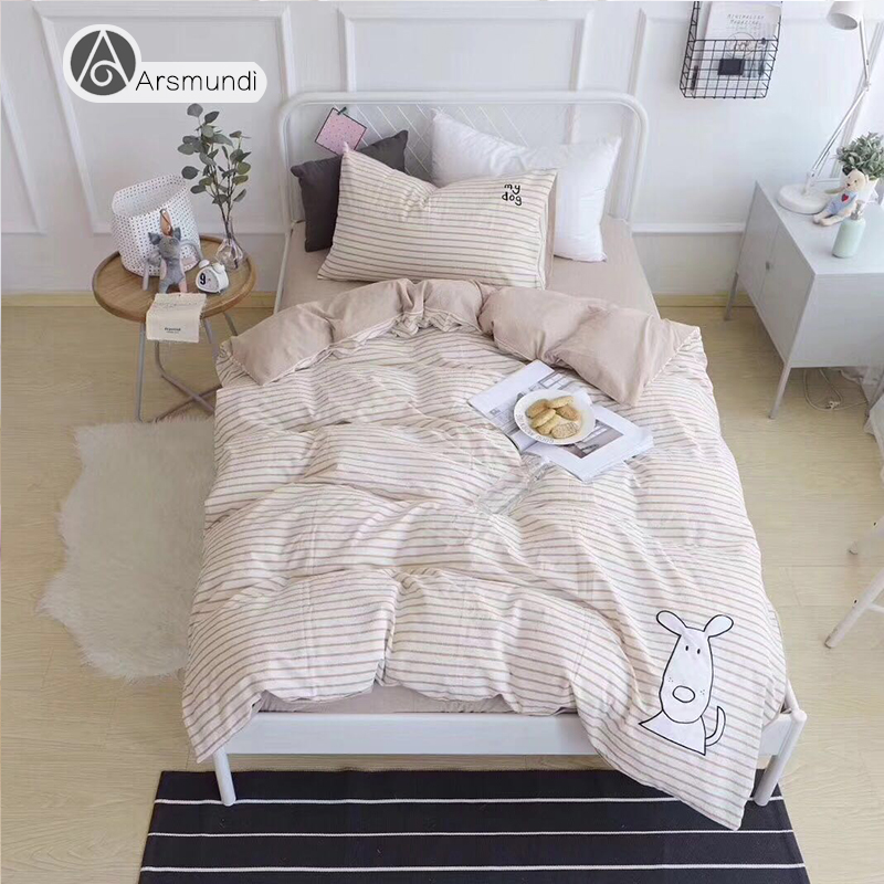 Arsmundi Cute White Puppy Cartoon Bedding Set Children Duvet Cover Set 100% Cotton Bed Set With Flat sheet 3pcs