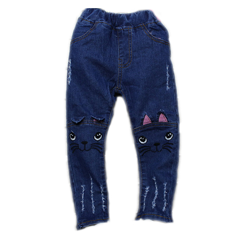 a6ff7f9de Girls Jeans Pants 2019 Spring Fashion Kids Leggings embroidery Cartoon Cat  Children Pencil Pants Long Trousers Pantalon Fillette-in Pants from Mother  & Kids ...