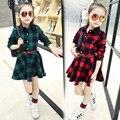 Ребенок 2016 Корейских женщин Новая Весна Хлопок Плед Платье в с длинными рукавами дети ребенок платье принцессы