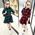 The child of 2016 Korean female's New Spring Cotton Plaid Dress in long sleeved children baby princess dress
