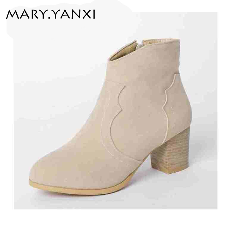 Hot sales women boots fashion British style concise winter shoes Nubuck Leather Pointed Toe martin boots high heels ankle boots armoire hot sales black yellow red brown gray flats women slouch ankle boots solid ladies winter nude shoes aa 3 nubuck