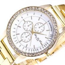Женева Поддельные глаза цифровой циферблат Diamond Сплава циферблат Золотой Нержавеющаясталь 20 мм ремешок Для мужчин пары Роскошные Кварцевые часы наручные часы C380