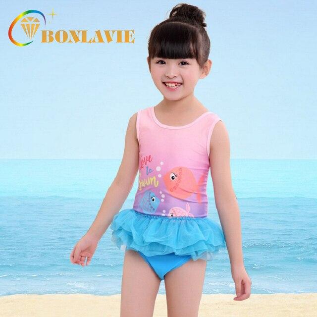 11dd51f62f40d 2018 Summer Girl's Swimwear Pink Blue Cartoon Fish Printed Kids One Piece  Swimsuit Cute Beachwear Bikini for Child