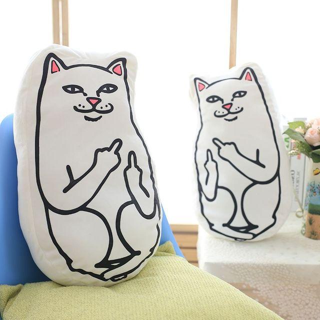 Casa Del Divano Letto.3d Bianco Dito Medio Gatto Sorriso Divertente Adorabile Cuscino Cuscino Del Divano Letto Decorazione Della Casa Del Regalo Creativo