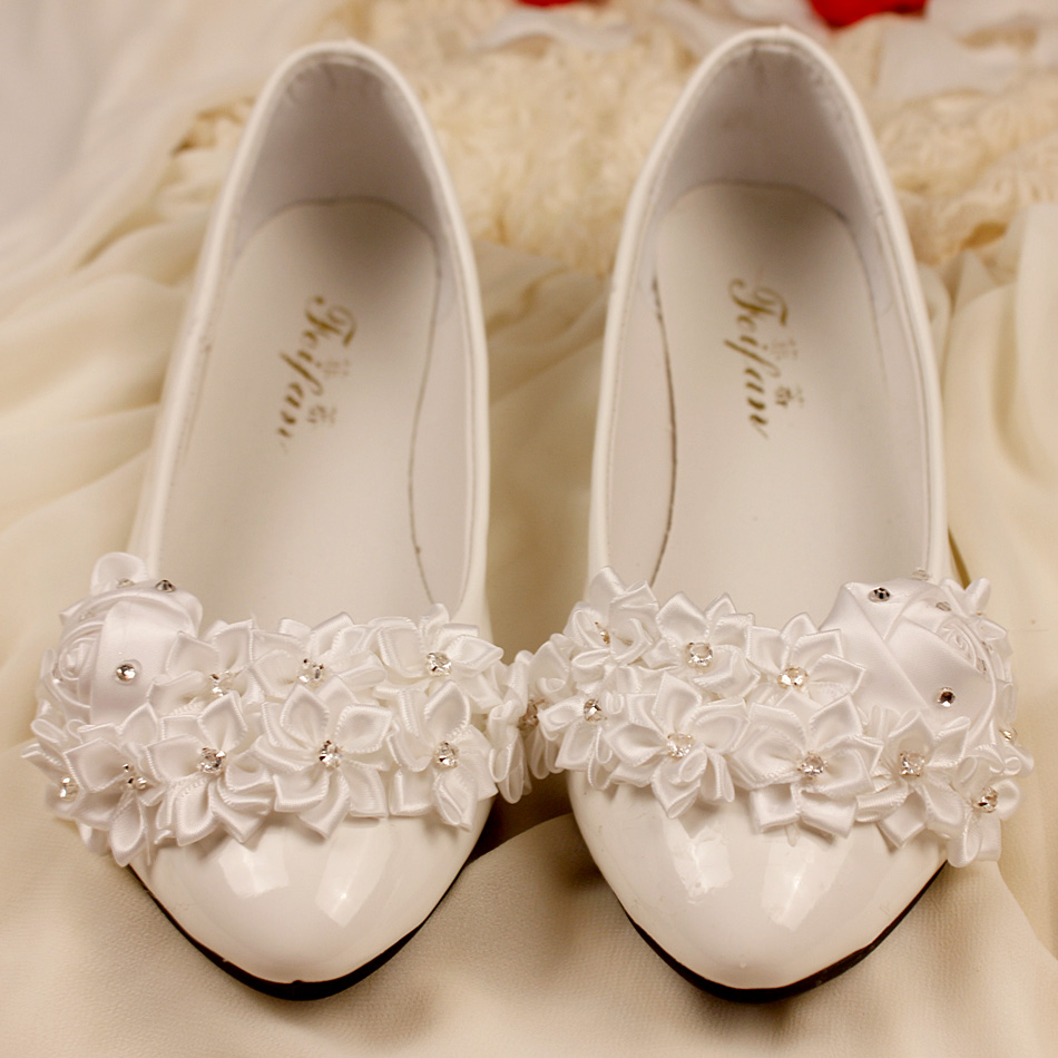 580b87f99a US $29.98 |Lace Wedding Shoes, Pearl White Lace Daisy Bridal Shoes, Ballet  Flat Shoes, High Heel, Wedding Shoes, Bridesmaid Shoes, -in Women's Pumps  ...