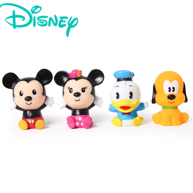 Disney 4pcs Mickey Mouse Classic Water Toys Rubber Squeaky Sound ...