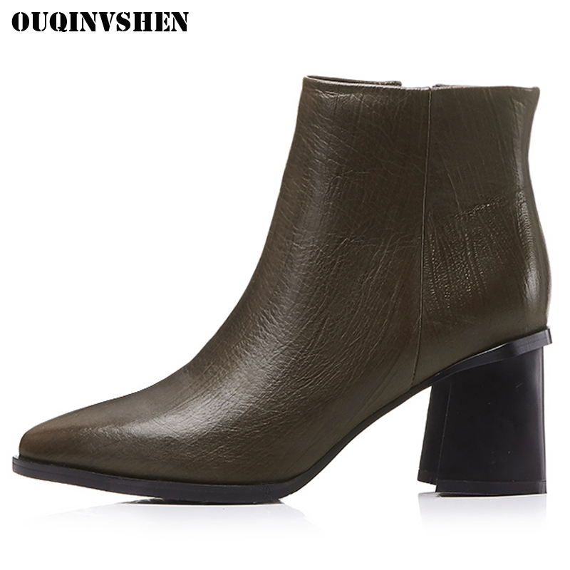 OUQINVSHEN Pointed Toe Square heel Women Boots Genuine Leather Zipper Women Ankle Boots Winter Short Plush Ladies High Heel Boot sfzb new square toe lace up genuine leather solid nude women ankle boots thick heel brand women shoes causal motorcycles boot