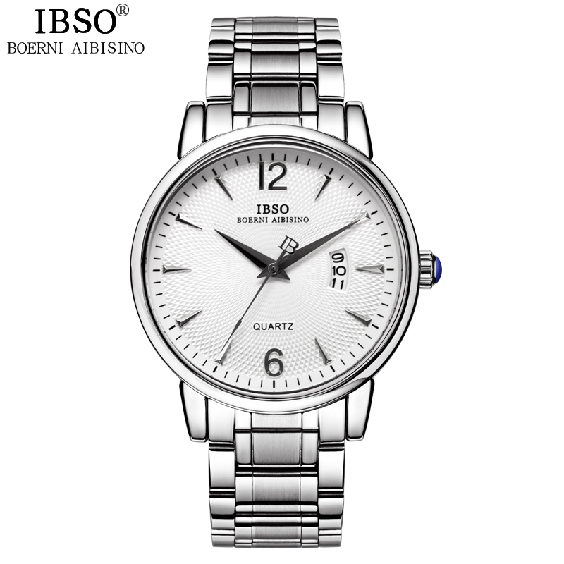 IBSO Calendar Mens Watches Top Brand Luxury Business Stainless Steel Band Watches Men Complete Fashion Relogio Masculino cadisen top new mens watches top brand luxury complete calendar 3atm sport watches for men clock stainless steel horloges mannen