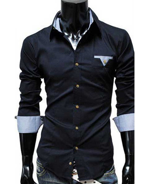 9a68ac8d51b4 Famous Brand Men Shirts Patch Work Classic Business Formal Dress Slim Fit  Shirt Long Sleeve abbigliamento uomo