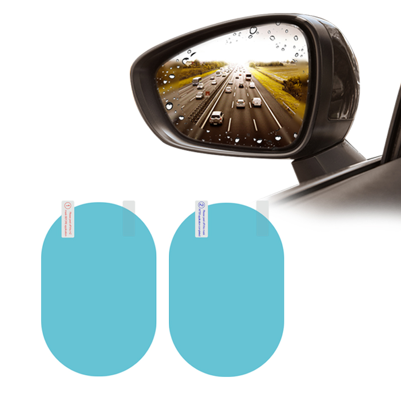 2PCS Car Rearview Mirror Window Protective Film Anti Fog Clear Rainproof Rear View Mirror Protective Soft Film Auto Accessories