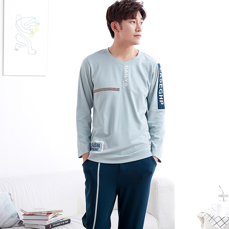 New Autumn And Winter Mens Pyjamas 100%Cotton Pajamas Long-sleeve Homewear Casual Men Pajamas Suit For Free Shipping ...