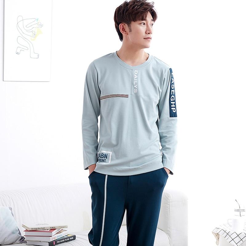 New Autumn And Winter Mens Pyjamas 100%Cotton Pajamas Long-sleeve Homewear Casual Men Pajamas Suit For Free Shipping ...
