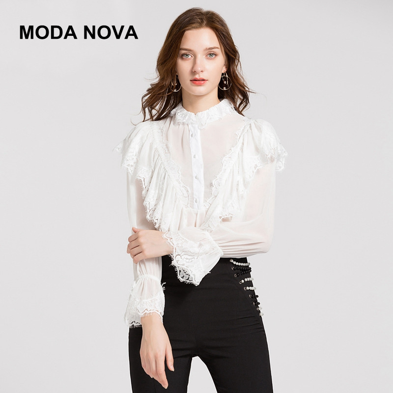 Blouses & Shirts 2019 High Quality Zim Style Runway Blouse Women Vintage Embroidery Puff Sleeve Shirt Female Fashion Tops Holiday 50% OFF