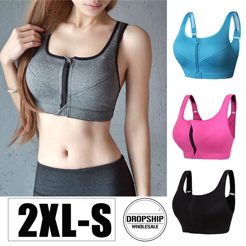 2019 Women Yoga BH Bra Front Zipper Sports Top SEXY Fitness Push Up Gym Running Shockproof Shirt Workout Athletic Vest Brassiere