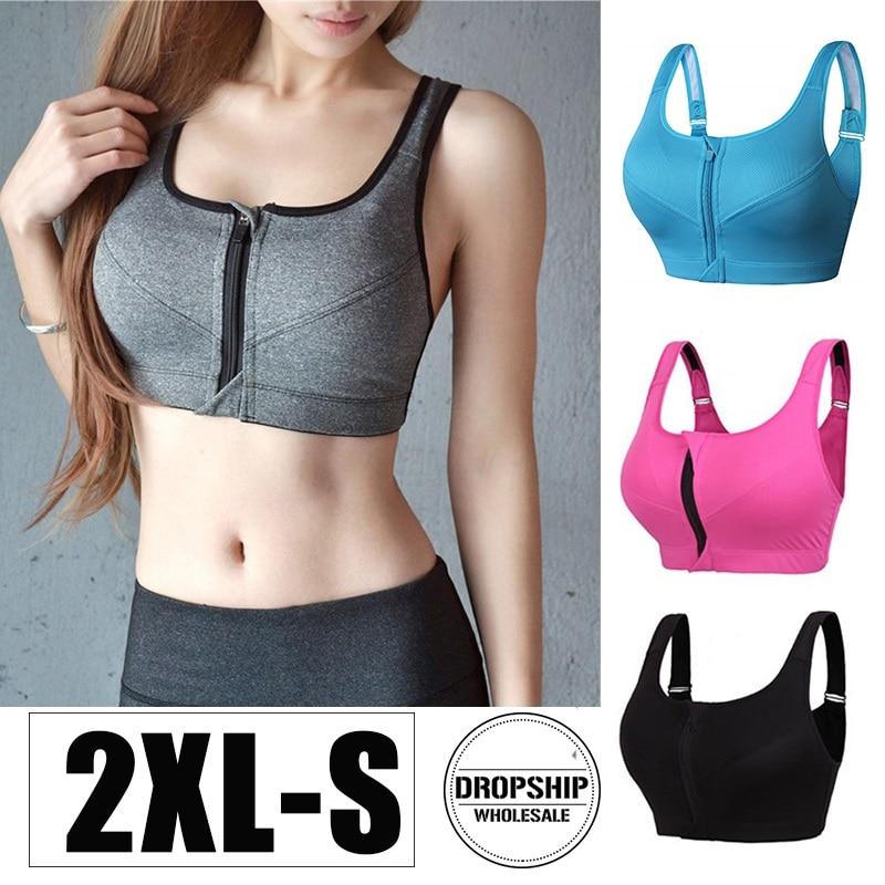 Women/'s Fitness Sports Bra Running Yoga Bra Front Zip Push Up Top Vest Brassiere