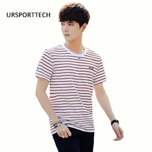 URSPORTTECH 2017 Spring Summer Short Sleeve T Shirts Men Striped Fashion Tees Slim Fit Plus Size Mens Clothing Fitness Top Tees недорого