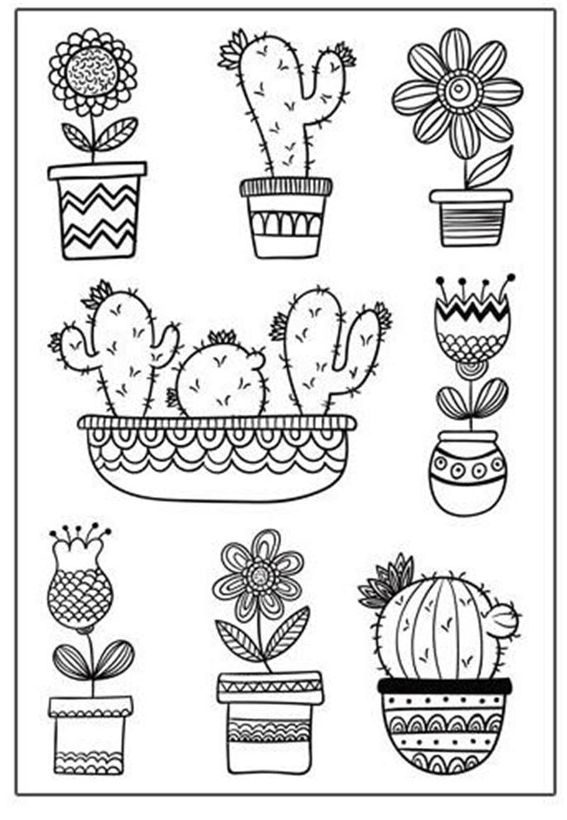 Cactus and Flower Pot Rubber Stamp Scrapbooking Photo Album Decorative