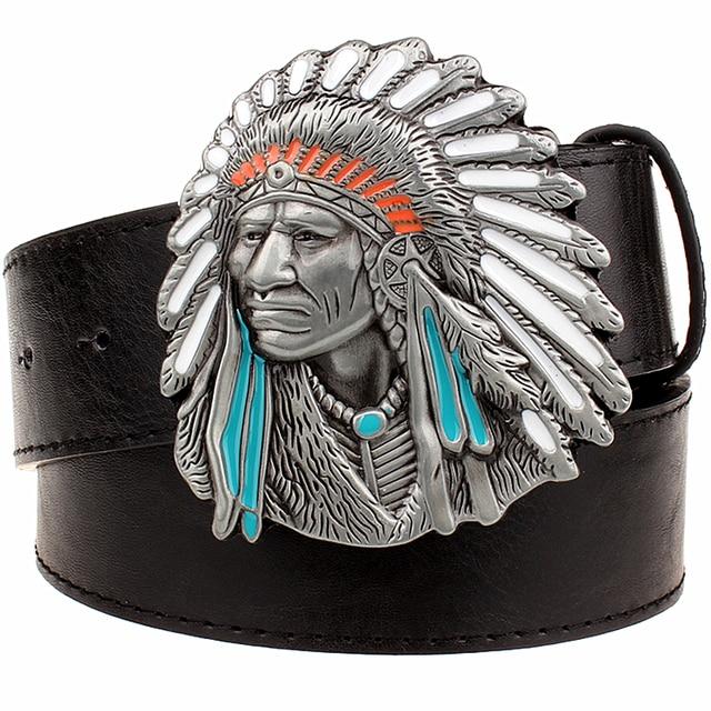 96d262f696f Indien chef ceinture hommes grande boucle ceinture décorative hip-hop en  vrac sauvage western cowboy