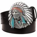 Jefe indio de los hombres de la correa hebilla Decorativa de la correa grande de hip-hop a granel estilo vaquero del oeste salvaje cinturón de cuero