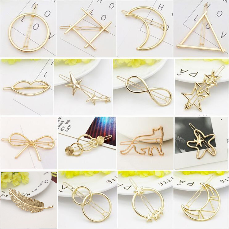 Fashion Geometry Metal Hairpins Women Girls Hair Clamp Barrette Hairgrip Hairclip Accessories For Women Girls Headdress Headwear