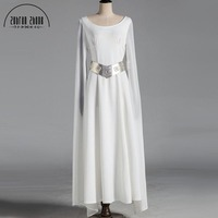 Star Wars Princess Leia Cosplay Costume Adult Halloween Fancy Costume White Dress For Women