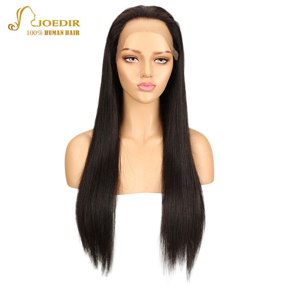 Joedir Brazilian Straight Human Hair Wigs For Black Women 13*4 Lace Frontal Wigs With Baby Hair Natural Color 10-24inch Remy
