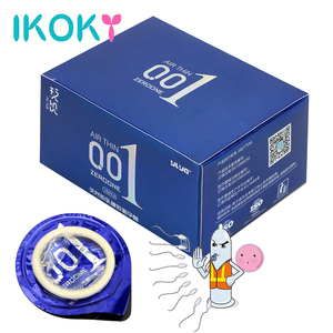 IKOKY Ice Heat Touch Natural Latex Hyaluronic Acids Condoms Sex Products 0.01 Ultra Thin Sex Toys for Men 10 Pieces/Box