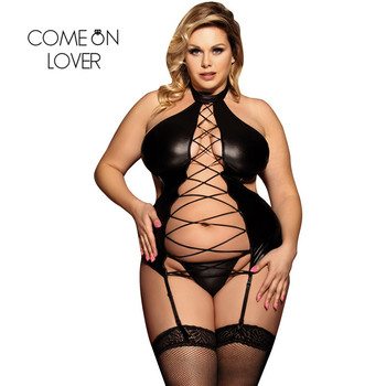 Comeonlover Fantezi i Giyim  Hollow Out Bandage Nuisette Femme Sexy Exotic Sexy Christmas Faux Leather Lingerie Costume RI80467