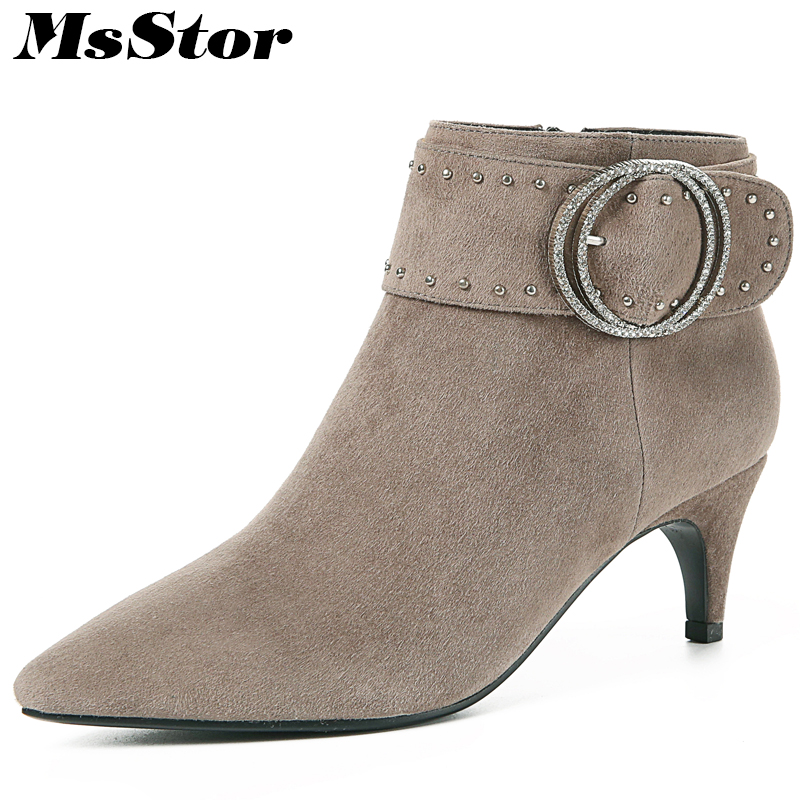 купить MsStor Pointed Toe High Heel Boots Shoes Woman Fashion Zipper Buckle Ankle Boots Women Shoes Crystal Thin Heels Women Boots по цене 3658.27 рублей