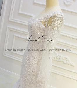 Image 3 - Amanda ออกแบบ robe de mariee แขนยาว Beading ที่ถอดออกได้กระโปรงชุด