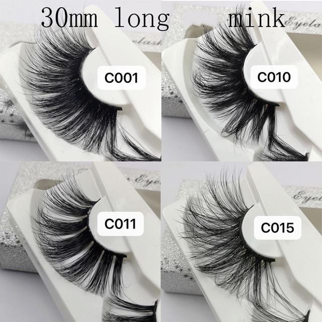 1 Pair 30mm Mink Lashes 100% mink Hair False Eyelashes Wispy Fluffy Lashes Eye Makeup Tools Multilayers Handmade Natural Lashes 2