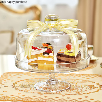 Europejski ciasto pokrywa kolacja przy świecach przezroczyste szkło osłona przeciwpyłowa deser przekąska z pokrywką taca herbaciana owoców West Point domu tanie i dobre opinie Przybory do ciasta Ekologiczne stojaki