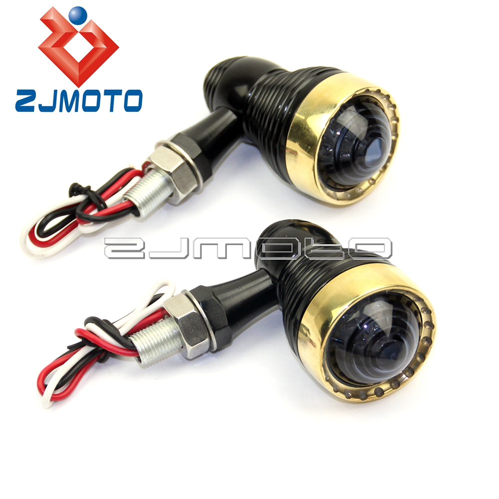 Motorcycle Black & Brass LED Turn Signal Indicator Light For Harley Cafe Racer 10mm