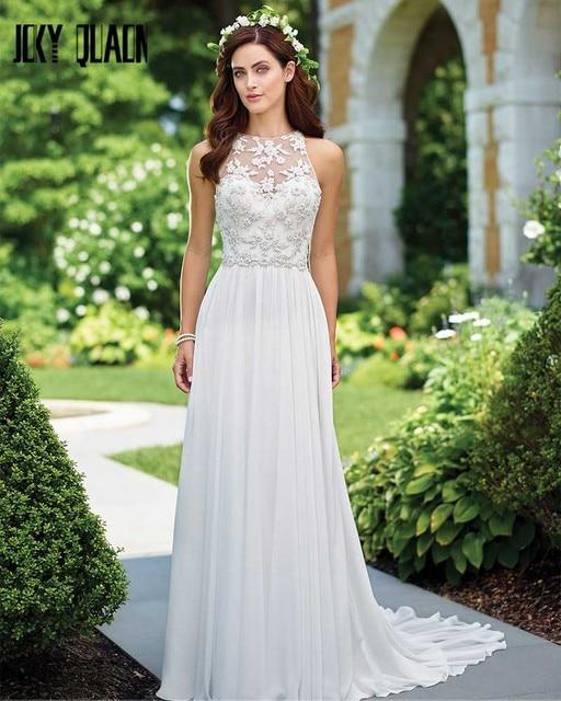 Joky Quaon White Chiffon Slim Elegant Beach Wedding Dresses 2017 ...