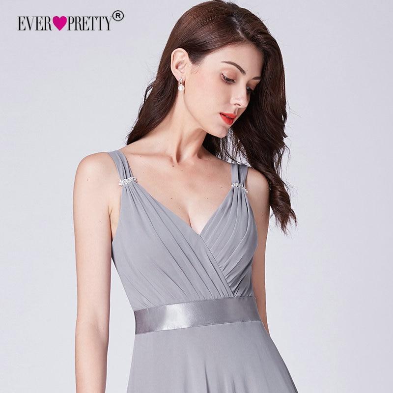 Προϊόν - Long Grey Chiffon Bridesmaids Dresses 2018 Ever Pretty ... 4a83cbb61d93