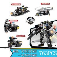 City Lepins Toy Vehicle 4 In1 Black Haw Swat Truck Shadow Team Blocks Police Diy Construction Building Bricks Toy