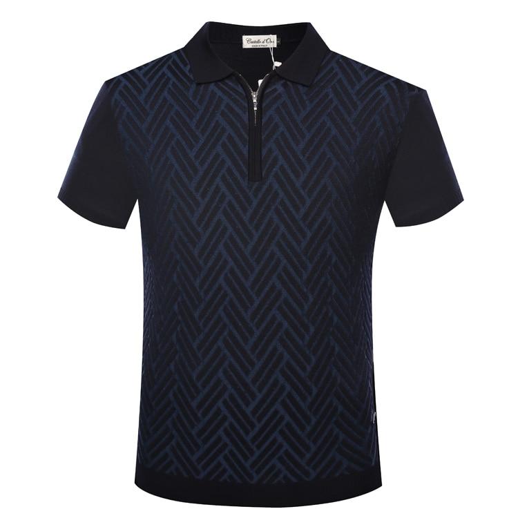 억만 장자 tace & shark t 셔츠 남성 2018 여름 신작 지퍼 칼라 패션 컴포트 기하학 무늬 의류 무료 배송-에서티셔츠부터 남성 의류 의  그룹 1