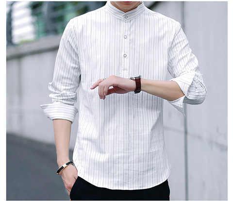 CH. KWOK полосатые мужские рубашки с длинным рукавом и воротником-стойкой черные рубашки для бизнеса, торжественных случаев белые мужские повседневные рубашки однобортные