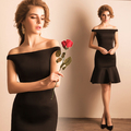 New Arrival Elegant Sexy Boat Neck  Mermaid Ruffles Cocktail Dress/Noble Black Party Dress 1098