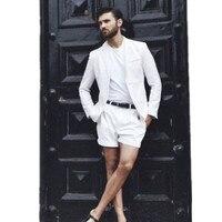 Slim Peak Lapel Best Man Suit White Summer Beach Men's Prom Party Suits Blazers