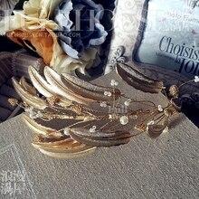 Oro Barroco de La Perla diadema nupcial tiaras accesorios del banquete de boda de Accesorios del vestido de Accesorios de soldadura